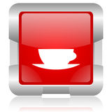 symbol för rengöringsduk för röd fyrkant för kaffekopp glansig Royaltyfri Foto