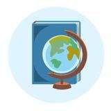 Symbol för rengöringsduk för utbildning för geografi för bokjordklotskola färgrik royaltyfri illustrationer