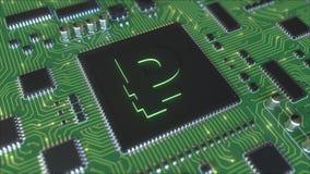 Symbol för rysk rubel på fungerande chipset arkivfilmer