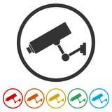 Symbol för säkerhetskamera, 6 inklusive färger Arkivfoton