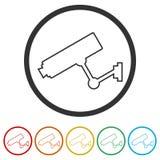 Symbol för säkerhetskamera, 6 inklusive färger Royaltyfria Foton