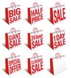 Symbol för SALE shoppingpåsar - bärkassesymbol vektor illustrationer