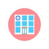 Symbol för sjukhusbyggnadslägenhet Rund färgrik knapp, runt vektortecken för klinik, logoillustration stock illustrationer
