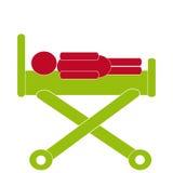 Symbol för sjukhussäng på vit bakgrund Royaltyfri Illustrationer
