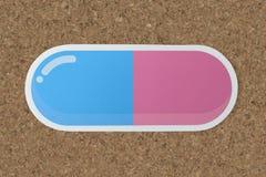 Symbol för sjukvård för drogkapseldosering Arkivfoton