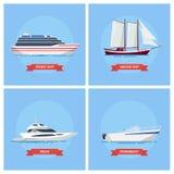Symbol för skepp- och fartygvektoruppsättning i en plan stil royaltyfri illustrationer