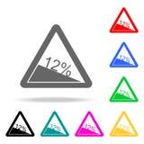 Symbol för sluttning 12% för trafiktecken brant Beståndsdelar i mång- kulöra symboler för mobila begrepps- och rengöringsdukapps  stock illustrationer