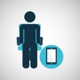 Symbol för smartphone för kontursammanträdeaffär Royaltyfria Bilder
