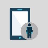 Symbol för smartphone för kontursammanträdeaffär Arkivbild