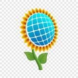 Symbol för solblommaenergi, realistisk stil royaltyfri illustrationer