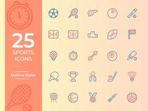 Symbol för 25 sportar, sportsymbol Översiktsvektorsymboler stock illustrationer