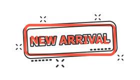 Symbol för stämpel för skyddsremsa för ankomst för vektortecknad film ny i komisk stil Arriv stock illustrationer