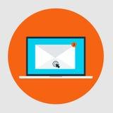 Symbol för stil för lägenhet för Emailmarknadsföringsbegrepp Arkivfoto