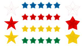 Symbol för stjärnor fem på en vit bakgrund, vektorillustration Röd blå gul guld 5 och tunn linje stjärnor Vektorillustration för  vektor illustrationer