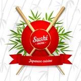 Symbol för sushimenyräkning på vit bakgrund Illustration för vektorgemkonst Arkivbild