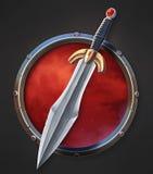 Symbol för svärd UI royaltyfri illustrationer
