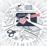 Symbol för svartvit scrapbooking för kreativitet stock illustrationer