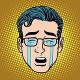 Symbol för symbol för framsida för Emoji skriande sorgsenhetman royaltyfri illustrationer