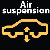 Symbol för tecken för billuftupphängning-varning instrumentbräda DTC-kodfel stock illustrationer