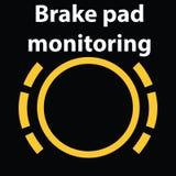 Symbol för tecken för varning för instrumentbräda för övervakning för bromsblock Vektorillustration av DTC-kodljus vektor illustrationer