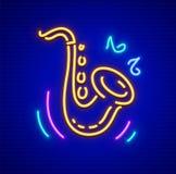Symbol för tecken för saxofonneonmusikinstrument Royaltyfri Fotografi