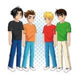 Symbol för tecknad film för manga för pojkeanime manlig som stylized swirlvektorn för bakgrund det dekorativa diagrammet vågr stock illustrationer