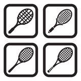 Symbol för tennisracket i fyra variationer Arkivfoton