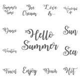 Symbol för text för Hello sommarbokstäver stock illustrationer