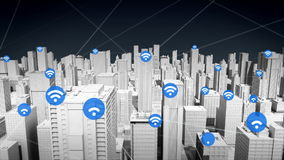 Symbol för trådlös teknologi på den smarta staden, förbindande internetnätverk