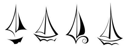 Symbol för trans. för fartyg för yacht för segling för vektorlägenhetdesign royaltyfri illustrationer
