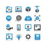 symbol för tryck 3d stock illustrationer