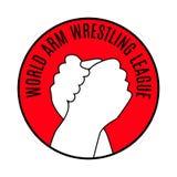 Symbol för två händer i armbrottning, röd rund medalj Plan enkel teckenstillinje konst Översiktssymbol med stiliserad bild av en  vektor illustrationer