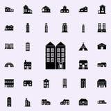 Symbol för två höghus inhysa den universella uppsättningen för symboler för rengöringsduk och mobil vektor illustrationer