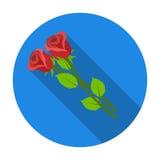 Symbol för två rosor i plan stil som isoleras på vit bakgrund För symbolmateriel för begravnings- ceremoni illustration för vekto royaltyfri illustrationer