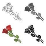 Symbol för två rosor i tecknad filmstil som isoleras på vit bakgrund För symbolmateriel för begravnings- ceremoni illustration fö vektor illustrationer