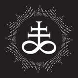 Symbol för utdraget Leviathan kors för hand alchemical för sulphur som förbinds med branden och svavlet av helvete Isolerat svart stock illustrationer