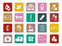 Symbol för utrustning för doktor Medical Hospital Tool färgrik fyrkantig royaltyfri illustrationer