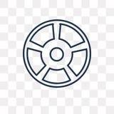 Symbol för vagnshjulvektor som isoleras på genomskinlig bakgrund, linea stock illustrationer