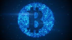 Symbol för valuta för Bitcoin tecken faktiskt Royaltyfri Foto