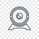 Symbol för vektor för begrepp för rengöringsdukkamera linjär på genomskinliga lodisar vektor illustrationer