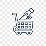Symbol för vektor för begrepp för shoppingvagn som linjär isoleras på genomskinligt vektor illustrationer