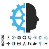 Symbol för vektor för Cyborgkugghjullägenhet med bonusen Arkivbilder