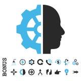 Symbol för vektor för Cyborgkugghjullägenhet med bonusen Fotografering för Bildbyråer