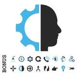 Symbol för vektor för Cyborgkugghjullägenhet med bonusen Arkivfoto