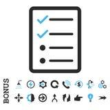 Symbol för vektor för kontrollistasidalägenhet med bonusen Royaltyfri Foto