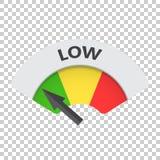 Symbol för vektor för låg nivåriskmått Låg bränsleillustration på isola Royaltyfria Bilder