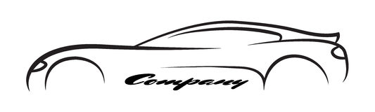 Symbol för vektor för logo för medel för återförsäljare för auto företag för bilsymbolkontur Royaltyfri Fotografi