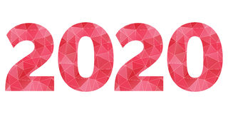 Symbol för vektor 2020 för lyckligt nytt år rött och rosa polygonal Fotografering för Bildbyråer