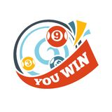 Symbol för vektor för nummer för lotteri för Bingolottoseger lycklig stock illustrationer