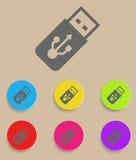Symbol för vektor för USB exponeringsdrev med färgvariationer Fotografering för Bildbyråer